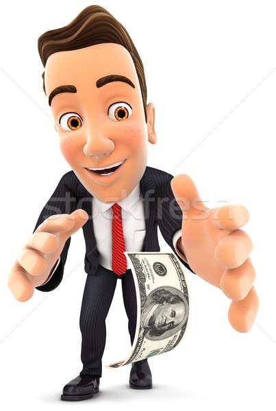 3d businessman bending down to pick up dollar bill Stock photo © 3dmask