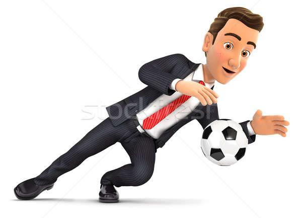 3d businessman stopping soccer ball Stock photo © 3dmask