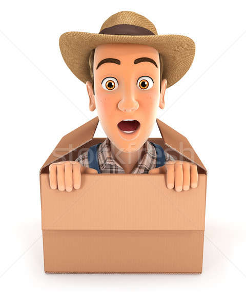 Stock photo: 3d farmer coming out of the box