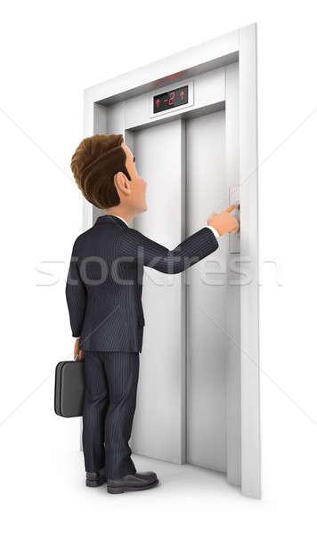 3D ビジネスマン 呼び出し エレベーター 実例 孤立した ストックフォト © 3dmask