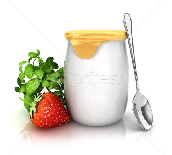 3D yaourt fraise isolé blanche image Photo stock © 3dmask