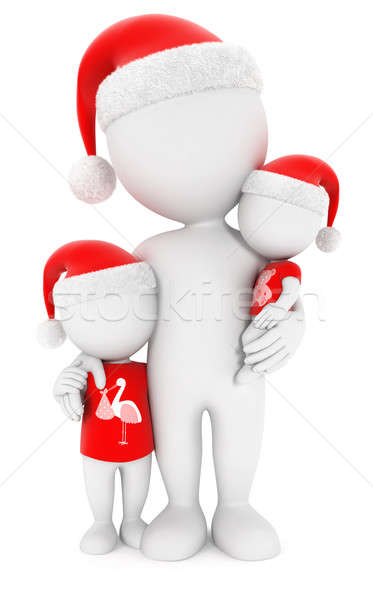 Stockfoto: 3D · witte · mensen · familie · christmas · geïsoleerd · witte