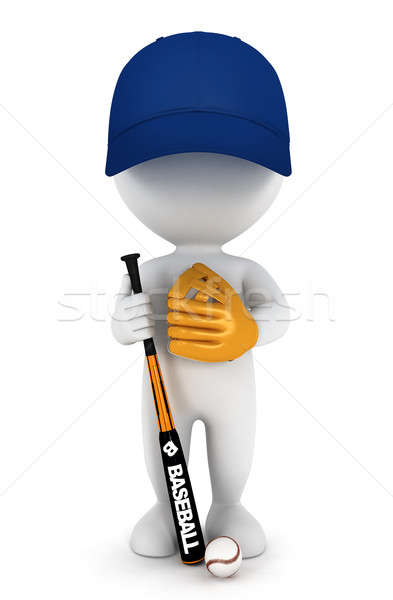 Stok fotoğraf: 3D · beyaz · insanlar · beyzbol · oyuncusu · bat · top · eldiven