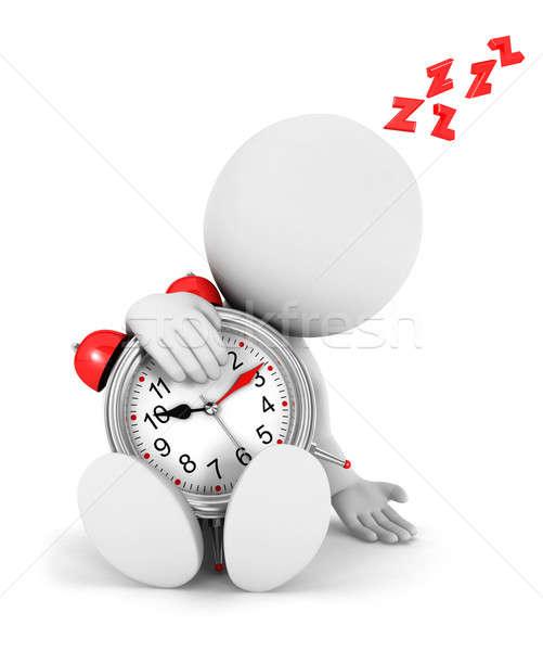 3D белые люди устал будильник изолированный белый Сток-фото © 3dmask