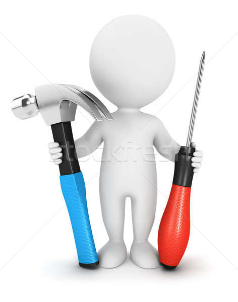 3d white people with tools Stock photo © 3dmask