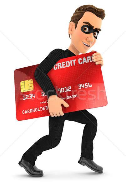 Сток-фото: 3D · вора · украденный · кредитных · карт · иллюстрация · изолированный