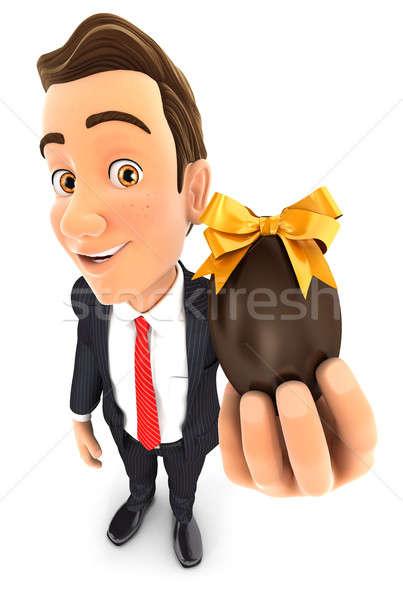 3D üzletember tart húsvéti tojás illusztráció izolált Stock fotó © 3dmask
