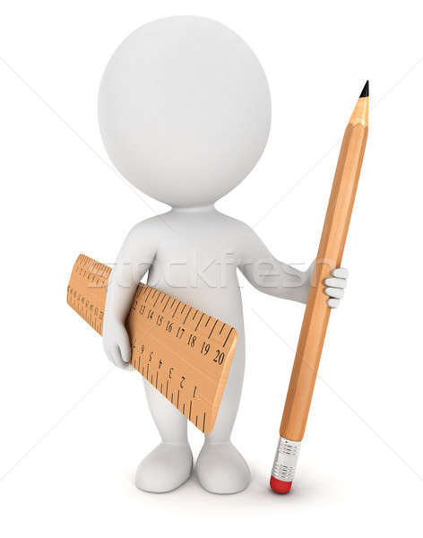 3d white people with pencil and ruler Stock photo © 3dmask