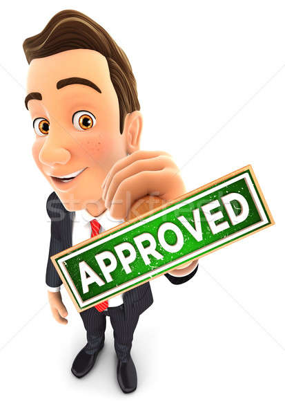 3d businessman approved stamp Stock photo © 3dmask