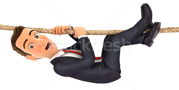 3d businessman hanging on rope Stock photo © 3dmask
