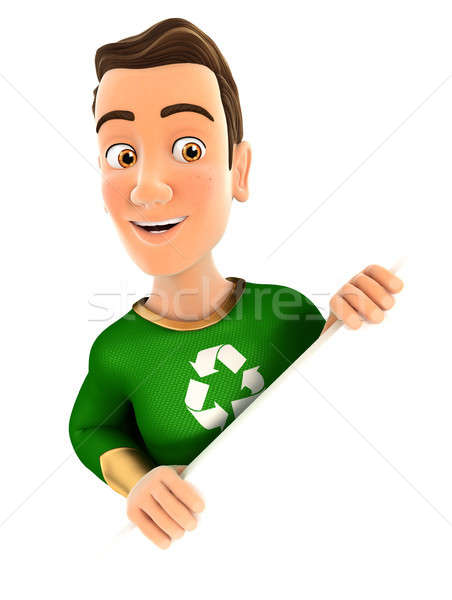 3D zöld hős mögött átló fal Stock fotó © 3dmask