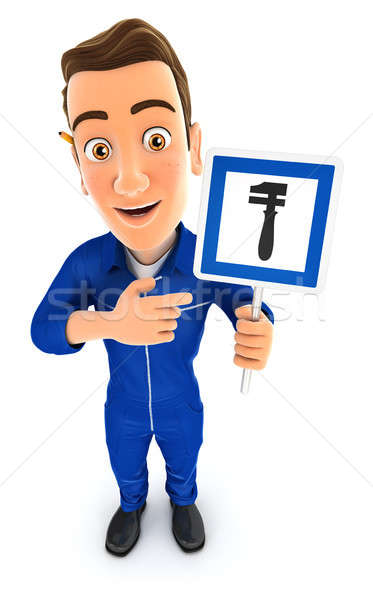 3d mechanic holding breakdown service road sign Stock photo © 3dmask