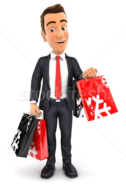 3d businessman carrying shopping bags Stock photo © 3dmask