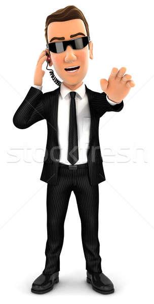 3D veiligheid agent stoppen gebaar geïsoleerd Stockfoto © 3dmask