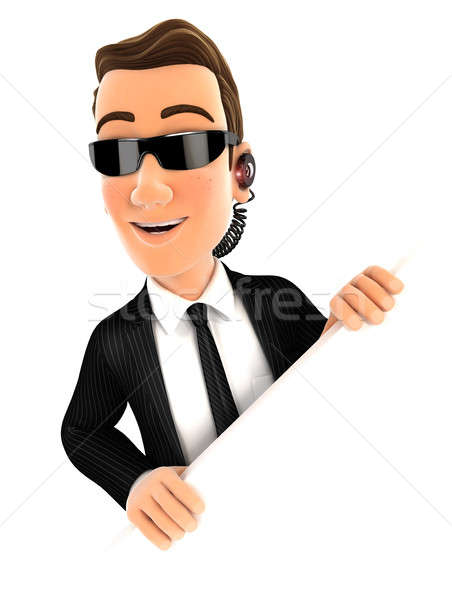 3d security agent behind diagonal wall Stock photo © 3dmask