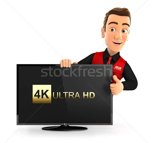 3d seller with 4K ultra HD television and thumb up Stock photo © 3dmask