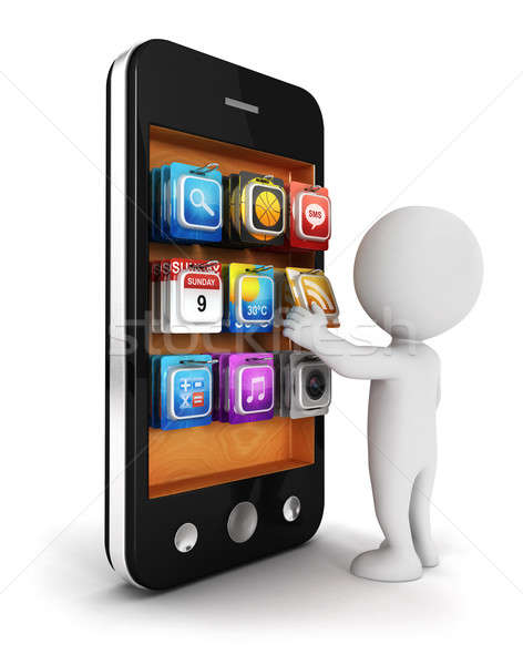 Stock photo: 3d white people chooses an app for smartphone