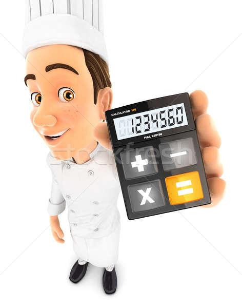 Foto stock: 3D · cabeza · chef · calculadora · ilustración