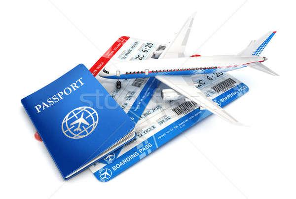 3D viaje avión pasaporte embarque Foto stock © 3dmask