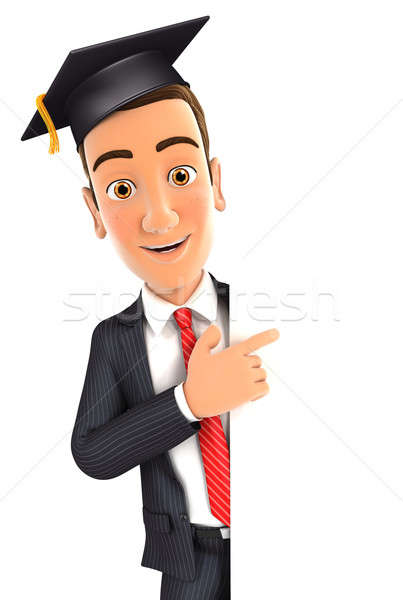 3d businessman with mortarboard pointing to right blank wall Stock photo © 3dmask