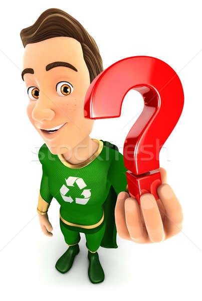 3D groene held vraagteken icon Stockfoto © 3dmask