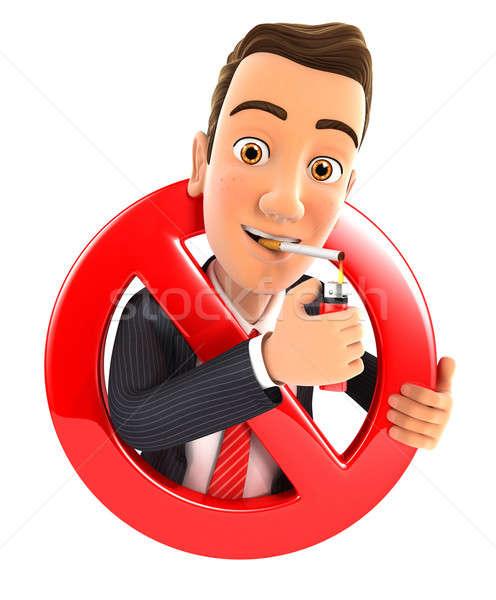 3D affaires fumer cigarette interdit signe Photo stock © 3dmask
