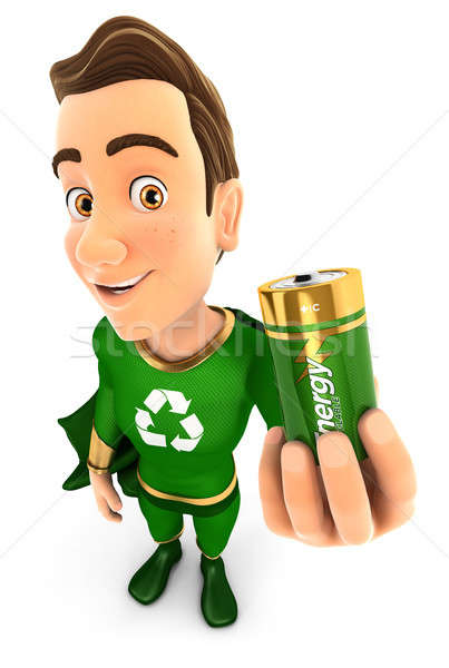 3D verde herói reciclável bateria Foto stock © 3dmask