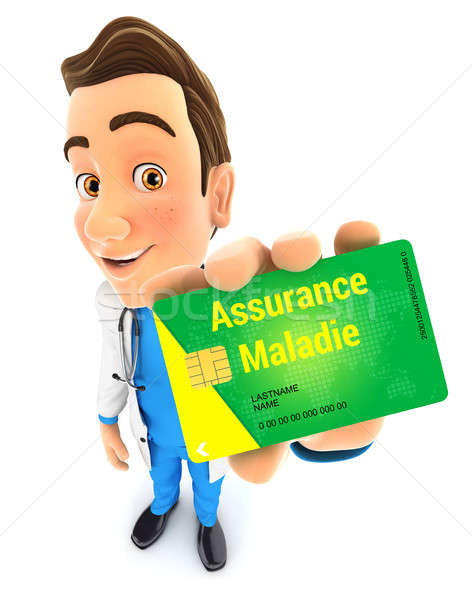 3d doctor holding health insurance card Stock photo © 3dmask