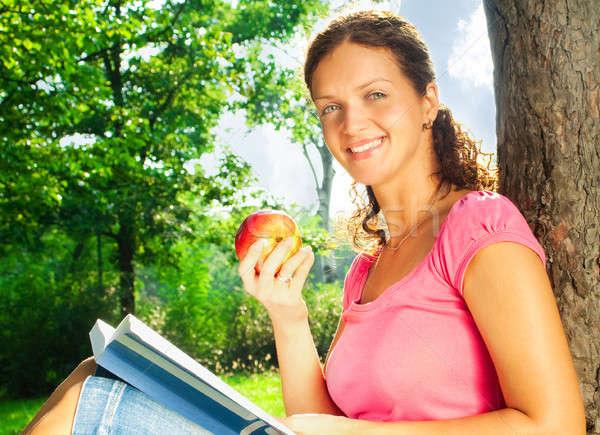 魅力的な女の子 図書 リンゴ 公園 女性 少女 ストックフォト © 3dvin