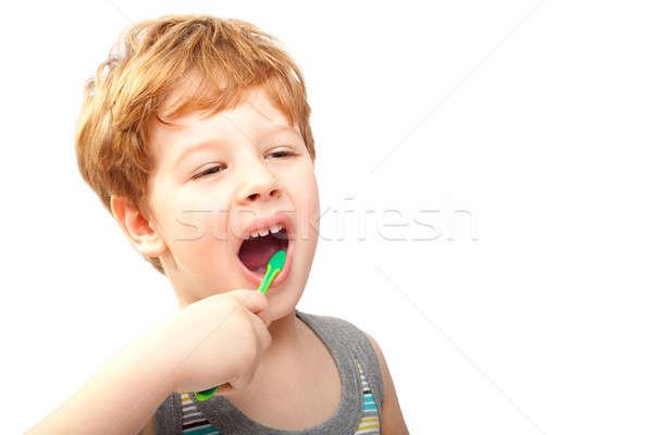 子 歯ブラシ 笑顔 目 髪 薬 ストックフォト © 3dvin