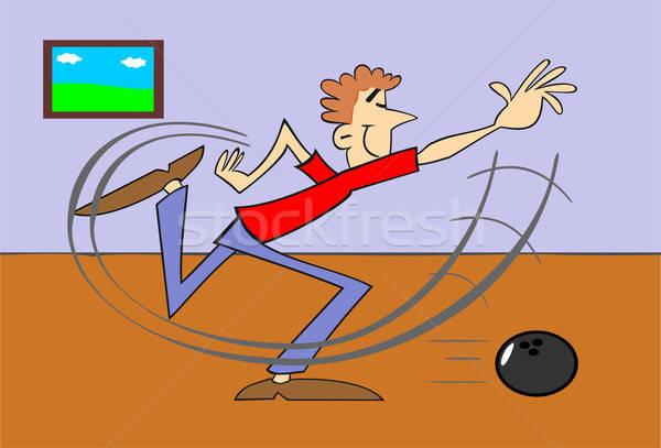 ボーリング プレーヤー 実例 スポーツ 青 楽しい ストックフォト © 3dvin
