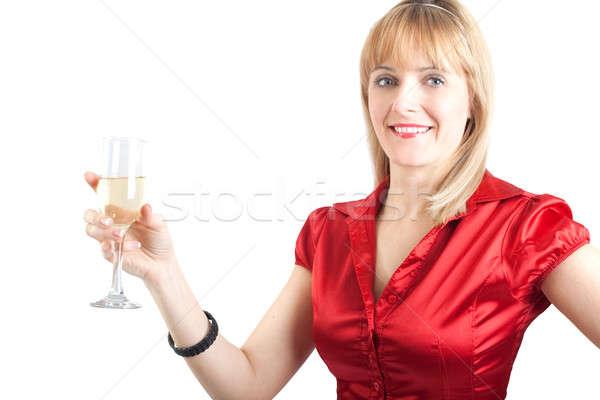 若い女性 ガラス シャンパン 孤立した 白 笑顔 ストックフォト © 3dvin