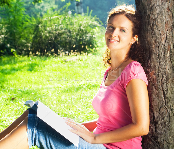 女性 リラックス 公園 若い女性 読む 図書 ストックフォト © 3dvin
