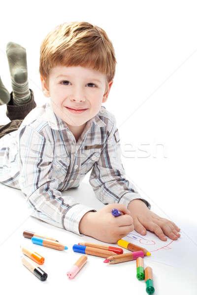 少年 絵画 白 紙 孤立した 笑顔 ストックフォト © 3dvin
