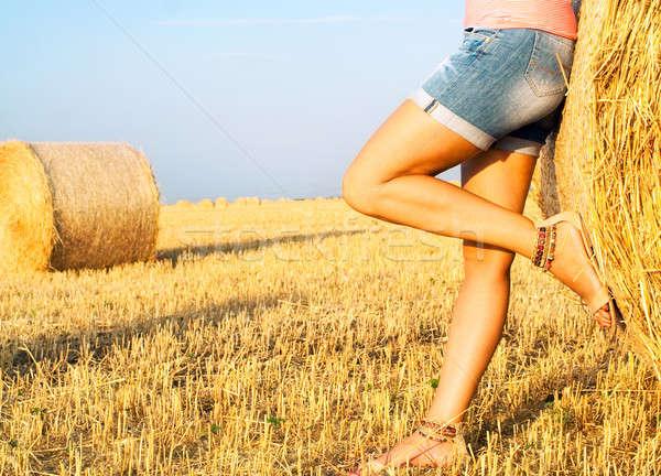 Mujer campo de trigo naturaleza otono naturales Foto stock © 3dvin