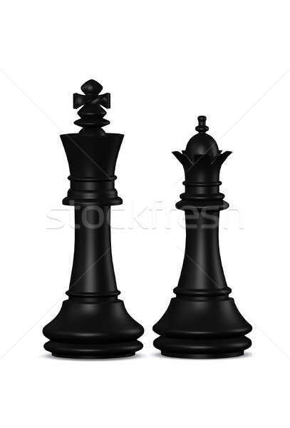 Chess king and queen isolated  Stock photo © 3dvin