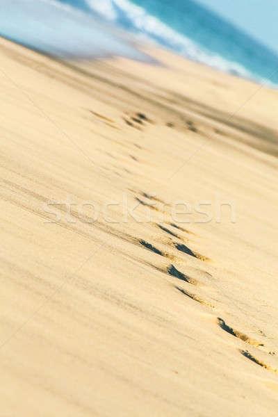 Plage humaine pied étapes imprimé sable Photo stock © 3pphoto31