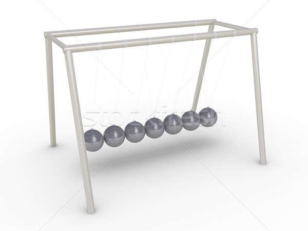 Wiege Bewegung 3d render stehen Metall Ball Stock foto © 6kor3dos