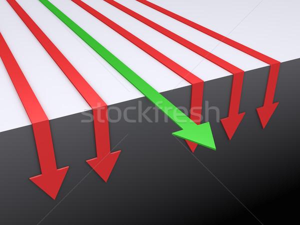 Stockfoto: Pijlen · beneden · een · wijzend · rechtdoor · groene