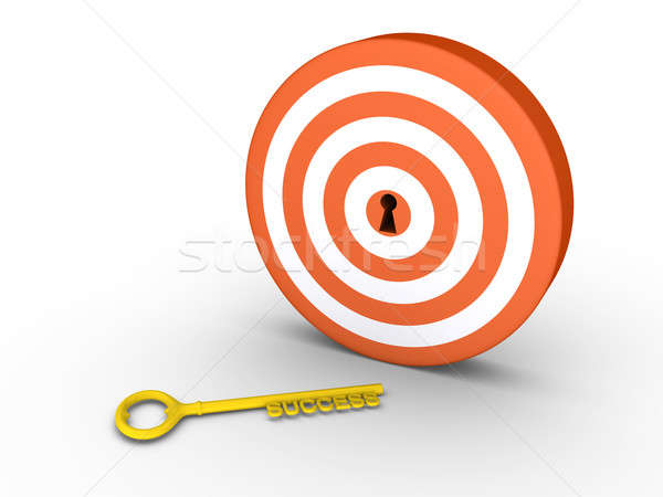 Stock photo: Target with keyhole and success-key on the ground