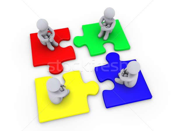 Solution quatre différent pièces de puzzle gens 3d séance Photo stock © 6kor3dos