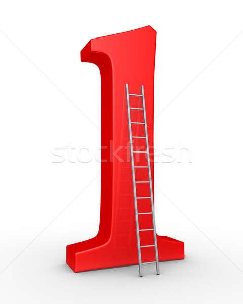 Legelső szimbólum létra 3D dől piros Stock fotó © 6kor3dos