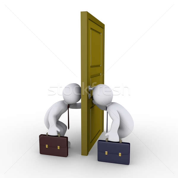 Stock photo: Businessmen trying to find success by looking through keyhole