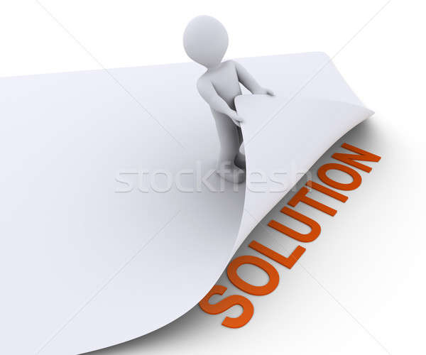 Person discovers the solution under a paper Stock photo © 6kor3dos