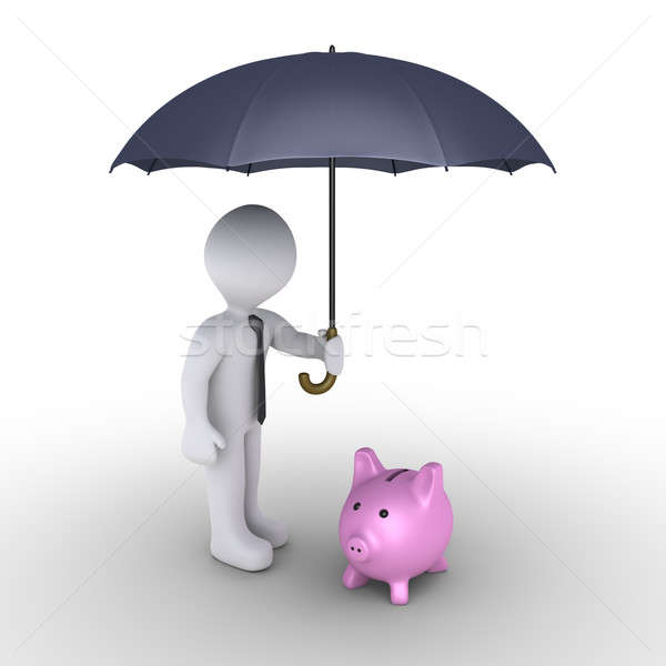 Person protecting pig money box with umbrella Stock photo © 6kor3dos