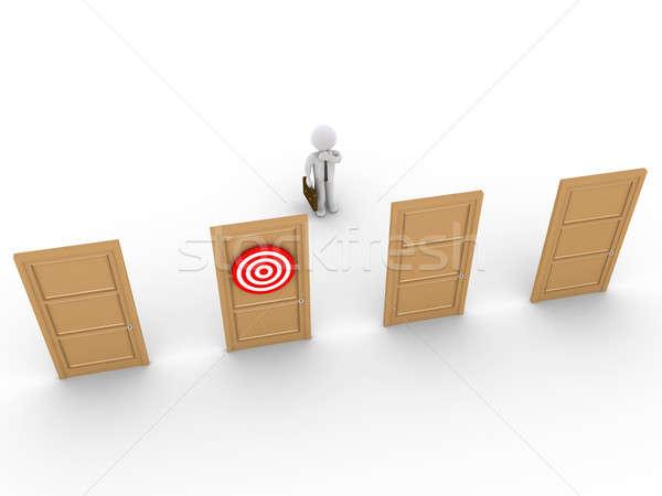 Affaires porte choisir 3D permanent Photo stock © 6kor3dos
