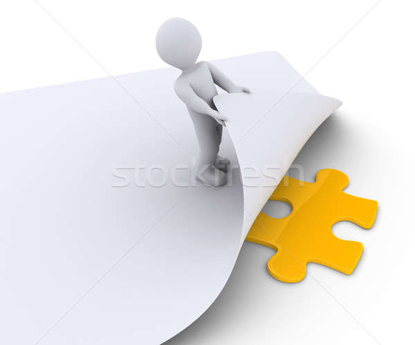 Person discovers a puzzle piece under a paper Stock photo © 6kor3dos