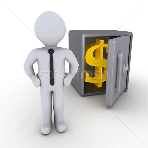 Affaires sûr 3D ouvrir signe du dollar argent Photo stock © 6kor3dos