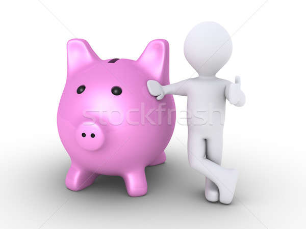 Pig money box and person Stock photo © 6kor3dos