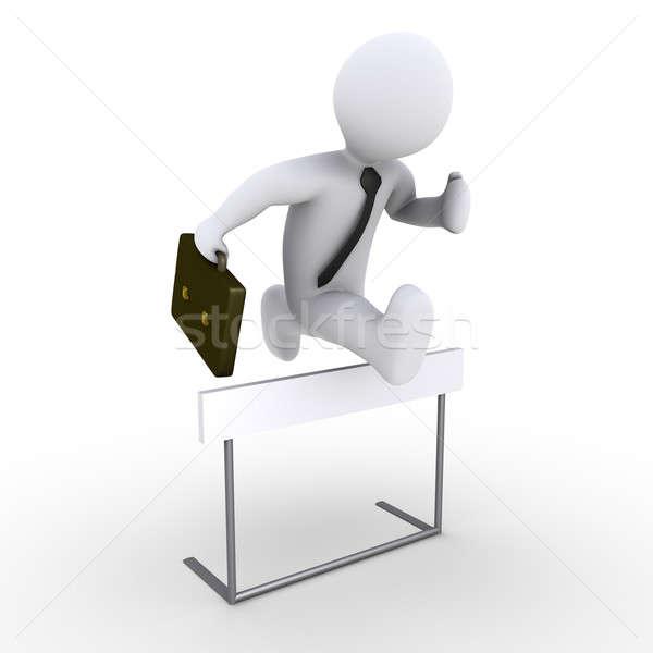 Empresario saltar obstáculo 3D carrera hombre Foto stock © 6kor3dos